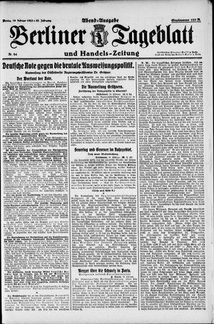 Berliner Tageblatt und Handels-Zeitung vom 19.02.1923