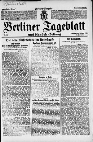 Berliner Tageblatt und Handels-Zeitung vom 20.02.1923