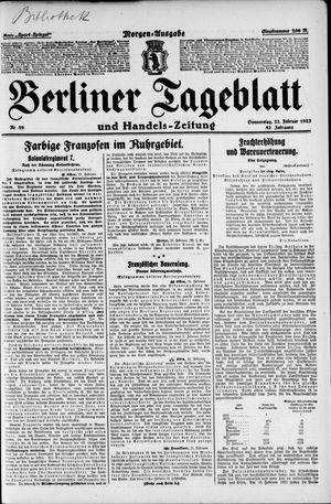 Berliner Tageblatt und Handels-Zeitung vom 22.02.1923