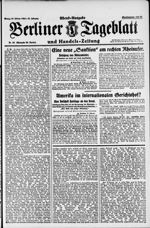 Berliner Tageblatt und Handels-Zeitung vom 26.02.1923