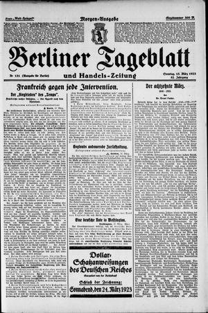 Berliner Tageblatt und Handels-Zeitung vom 18.03.1923