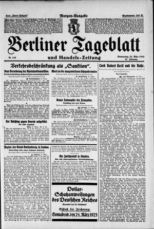 Berliner Tageblatt und Handels-Zeitung vom 22.03.1923