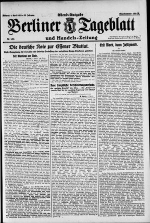 Berliner Tageblatt und Handels-Zeitung vom 04.04.1923