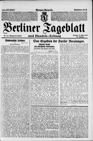 Berliner Tageblatt und Handels-Zeitung on Apr 15, 1923