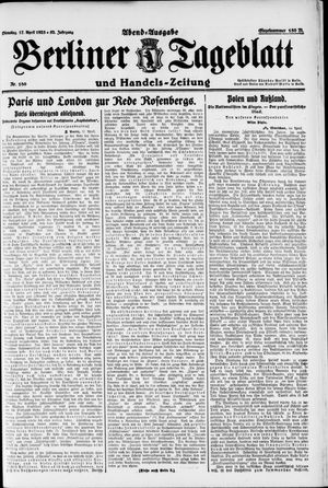 Berliner Tageblatt und Handels-Zeitung vom 17.04.1923