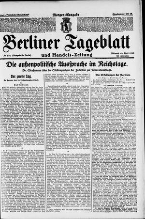 Berliner Tageblatt und Handels-Zeitung vom 18.04.1923
