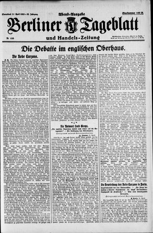Berliner Tageblatt und Handels-Zeitung vom 21.04.1923