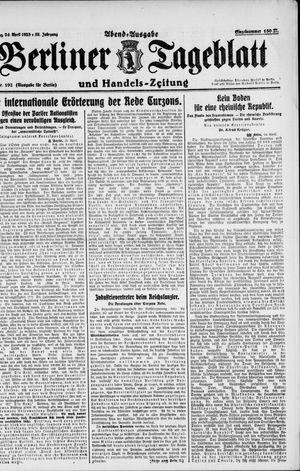 Berliner Tageblatt und Handels-Zeitung vom 24.04.1923