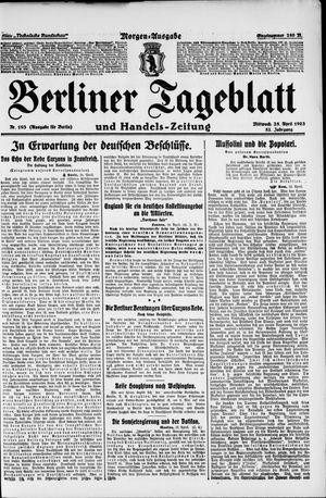 Berliner Tageblatt und Handels-Zeitung vom 25.04.1923