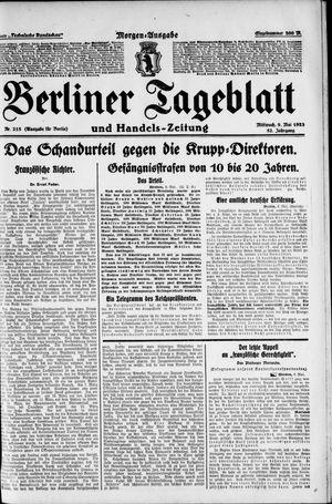 Berliner Tageblatt und Handels-Zeitung vom 09.05.1923