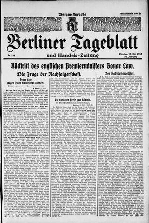 Berliner Tageblatt und Handels-Zeitung vom 22.05.1923