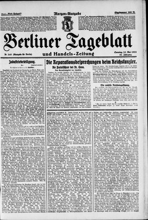 Berliner Tageblatt und Handels-Zeitung vom 27.05.1923