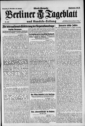 Berliner Tageblatt und Handels-Zeitung vom 31.05.1923