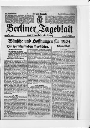Berliner Tageblatt und Handels-Zeitung vom 01.01.1924