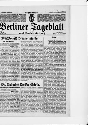 Berliner Tageblatt und Handels-Zeitung vom 23.01.1924