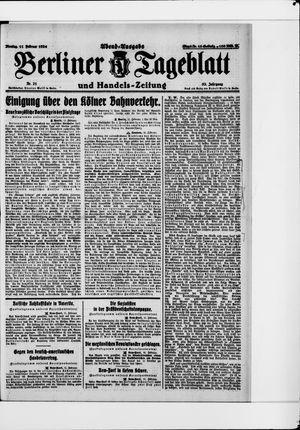 Berliner Tageblatt und Handels-Zeitung vom 11.02.1924