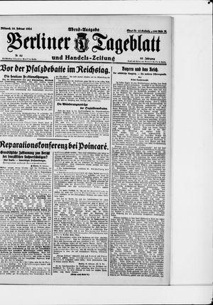 Berliner Tageblatt und Handels-Zeitung vom 20.02.1924