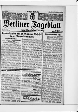Berliner Tageblatt und Handels-Zeitung vom 22.02.1924