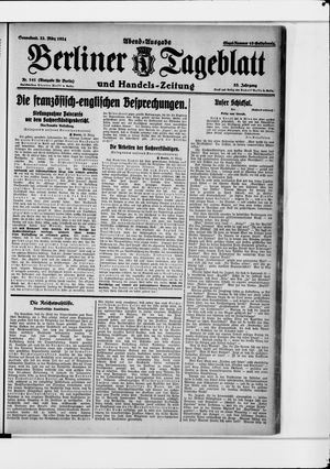 Berliner Tageblatt und Handels-Zeitung on Mar 22, 1924