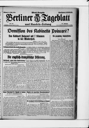 Berliner Tageblatt und Handels-Zeitung vom 26.03.1924