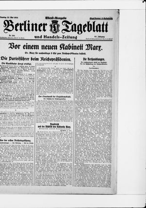 Berliner Tageblatt und Handels-Zeitung vom 27.05.1924