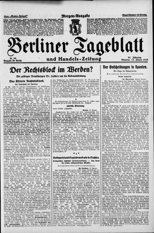 Berliner Tageblatt und Handels-Zeitung vom 13.01.1925