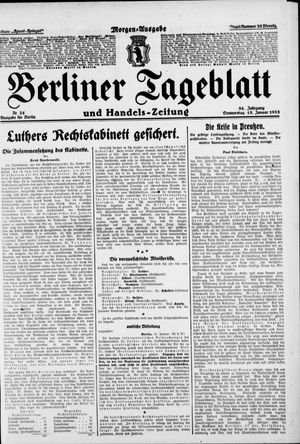 Berliner Tageblatt und Handels-Zeitung vom 15.01.1925