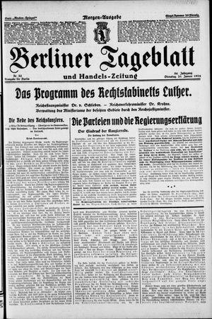 Berliner Tageblatt und Handels-Zeitung vom 20.01.1925