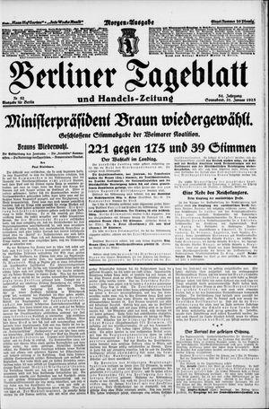 Berliner Tageblatt und Handels-Zeitung vom 31.01.1925