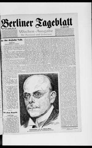 Berliner Tageblatt und Handels-Zeitung on Apr 17, 1925