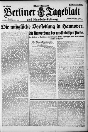 Berliner Tageblatt und Handels-Zeitung vom 20.04.1925