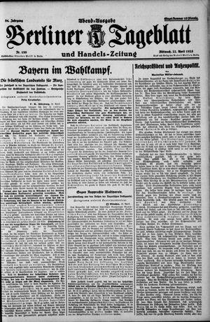 Berliner Tageblatt und Handels-Zeitung vom 22.04.1925