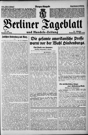 Berliner Tageblatt und Handels-Zeitung vom 23.04.1925