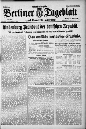 Berliner Tageblatt und Handels-Zeitung vom 27.04.1925