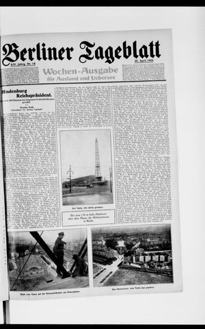 Berliner Tageblatt und Handels-Zeitung vom 30.04.1925