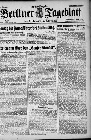 Berliner Tageblatt und Handels-Zeitung vom 09.01.1926