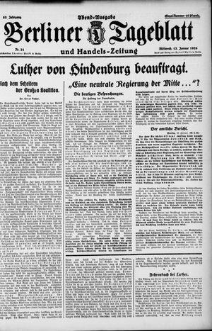 Berliner Tageblatt und Handels-Zeitung vom 13.01.1926