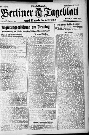 Berliner Tageblatt und Handels-Zeitung vom 20.01.1926