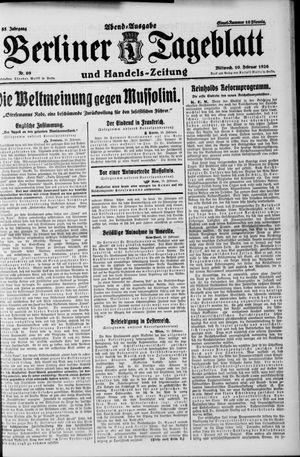 Berliner Tageblatt und Handels-Zeitung vom 10.02.1926