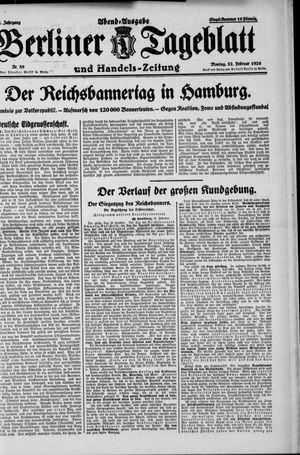 Berliner Tageblatt und Handels-Zeitung vom 22.02.1926