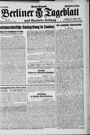 Berliner Tageblatt und Handels-Zeitung vom 23.02.1926