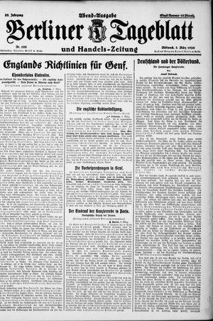 Berliner Tageblatt und Handels-Zeitung vom 03.03.1926