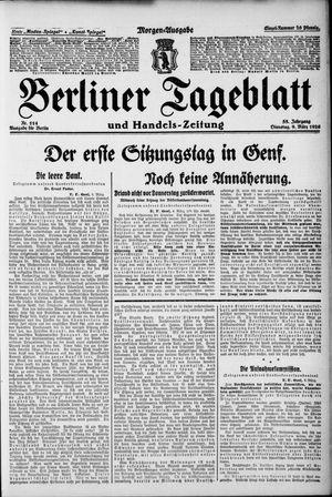 Berliner Tageblatt und Handels-Zeitung vom 09.03.1926