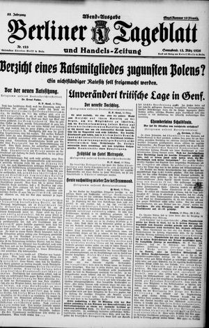 Berliner Tageblatt und Handels-Zeitung vom 13.03.1926
