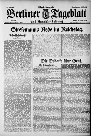 Berliner Tageblatt und Handels-Zeitung vom 22.03.1926