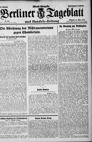 Berliner Tageblatt und Handels-Zeitung vom 24.03.1926