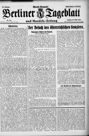 Berliner Tageblatt und Handels-Zeitung vom 29.03.1926