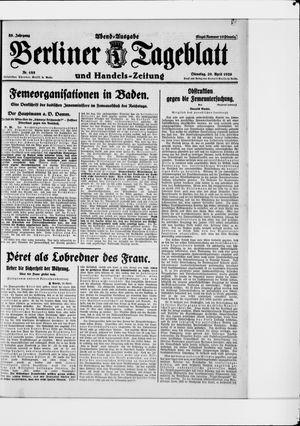 Berliner Tageblatt und Handels-Zeitung vom 20.04.1926