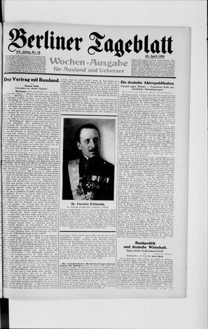 Berliner Tageblatt und Handels-Zeitung vom 22.04.1926