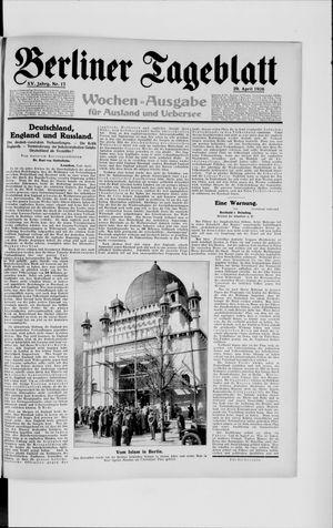 Berliner Tageblatt und Handels-Zeitung vom 29.04.1926